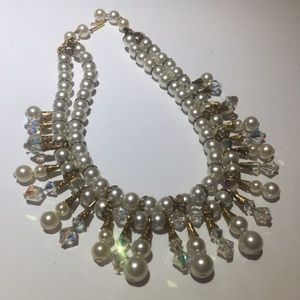 Vintage Art Crystal & Pearl double strand necklace